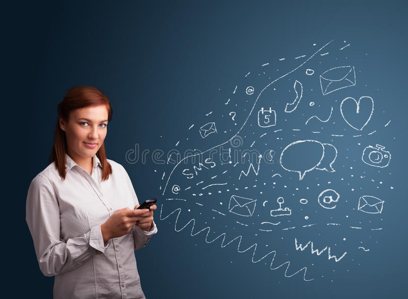 Download Girl Typing On Smartphone With Various Modern Technology Icons Stock Image - Image: 29074005