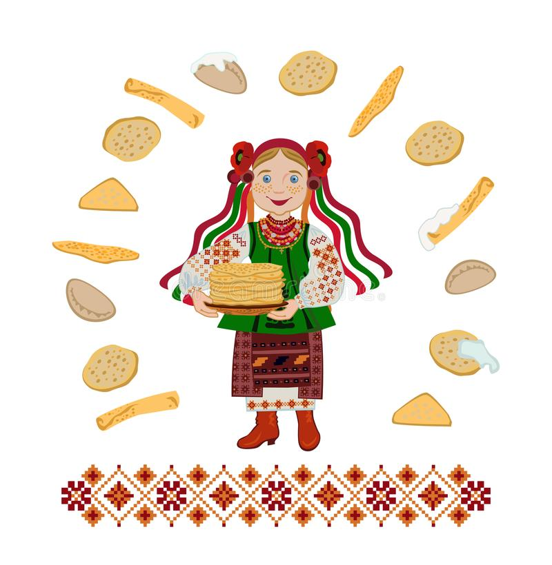 Ukrainian girl bear a plate of pancakes holiday of Shrovetide. Girl in a Ukrainian folk costume with a plate with pancakes. Congratulation with the Carnival or vector illustration