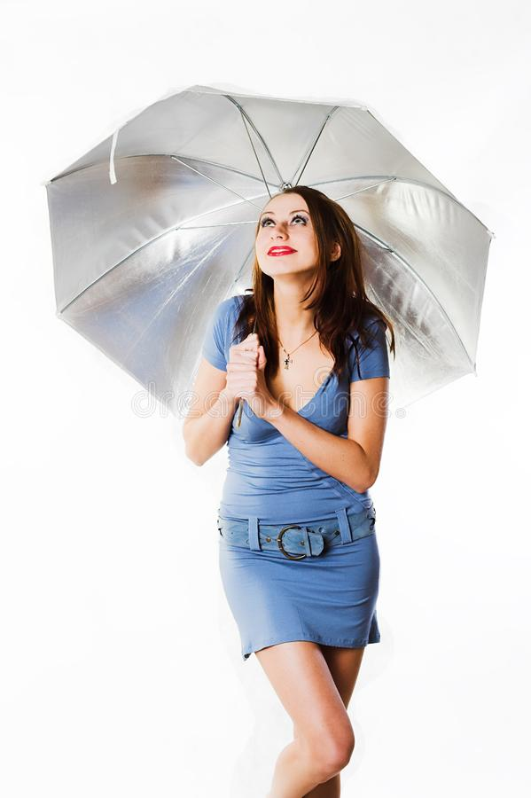 Girl with a umbrella royalty free stock photography