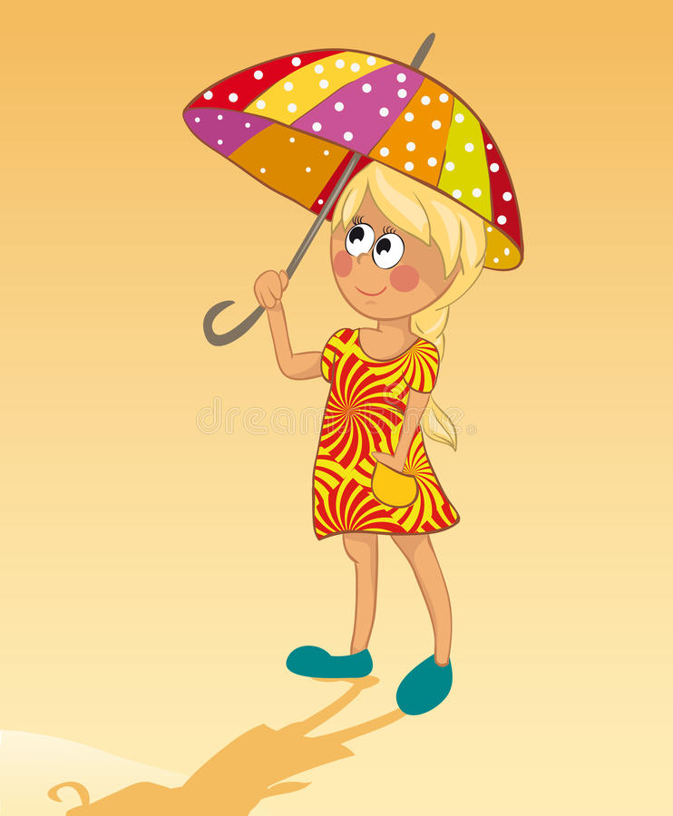 Download Girl and umbrella stock vector. Image of beach, outdoors - 18951291