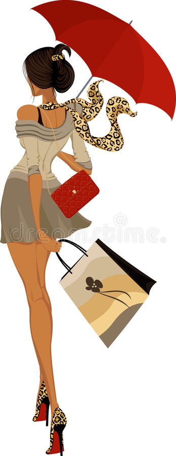 Girl with umbrella. Fashion girl walking with umbrella isolated on white background - vector illustration royalty free illustration