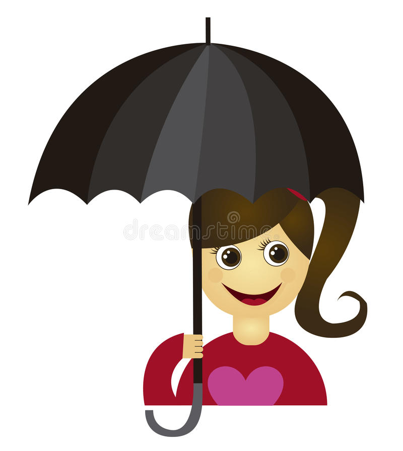 Download Girl with umbrella stock vector. Image of outdoors, drawing - 21477156