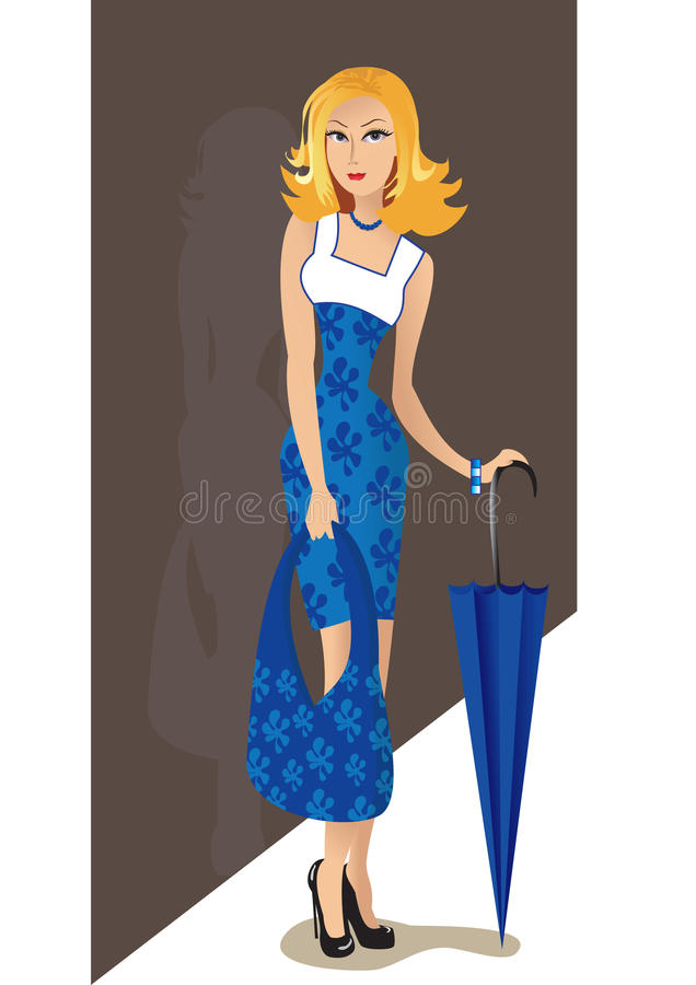 Download The girl with an umbrella stock vector. Illustration of smile - 23299262