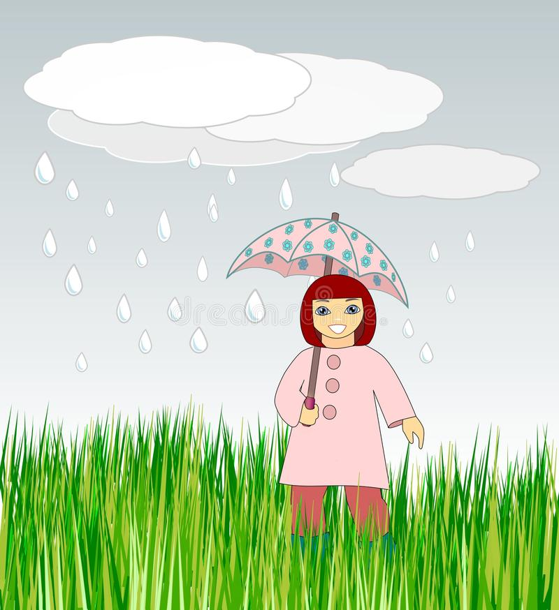 Download Girl with Umbrella stock illustration. Image of face - 24506380