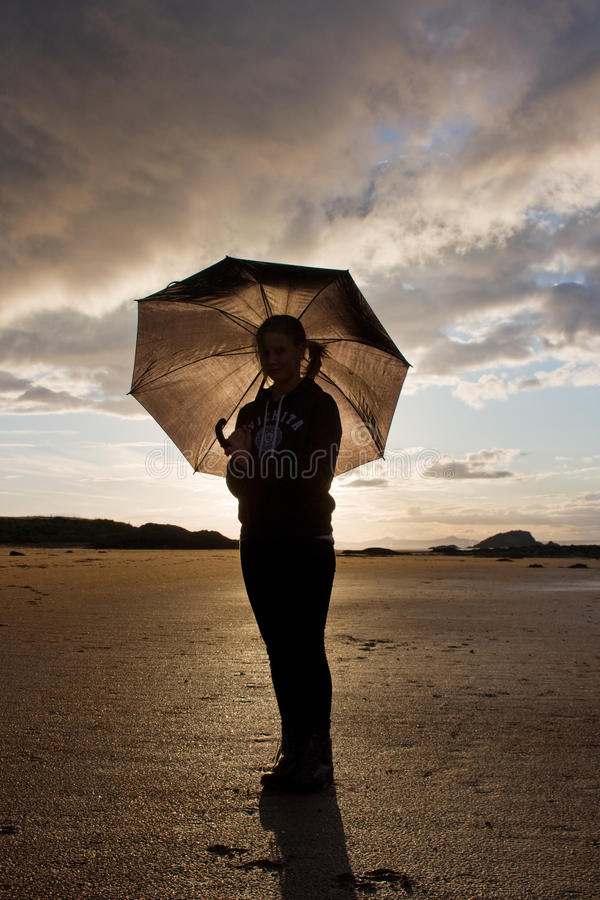 Download Girl with umbrella stock photo. Image of dawn, sunset - 26768686