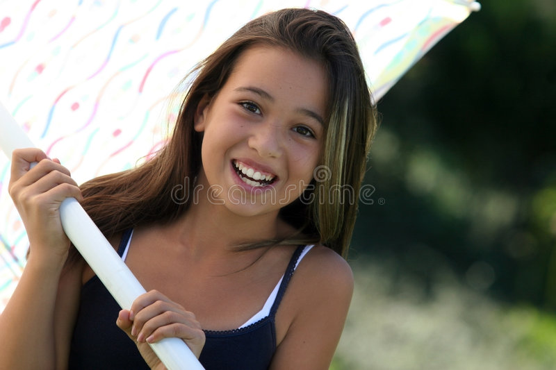 Download Girl with umbrella stock photo. Image of pretty, smiling - 275112