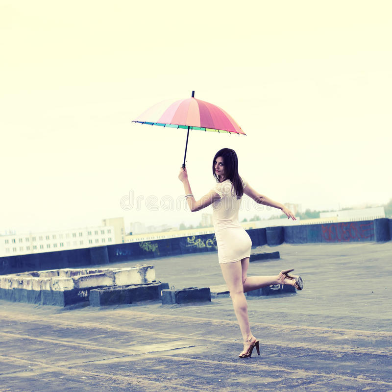 Download Girl with an umbrella stock photo. Image of countryside - 44971492