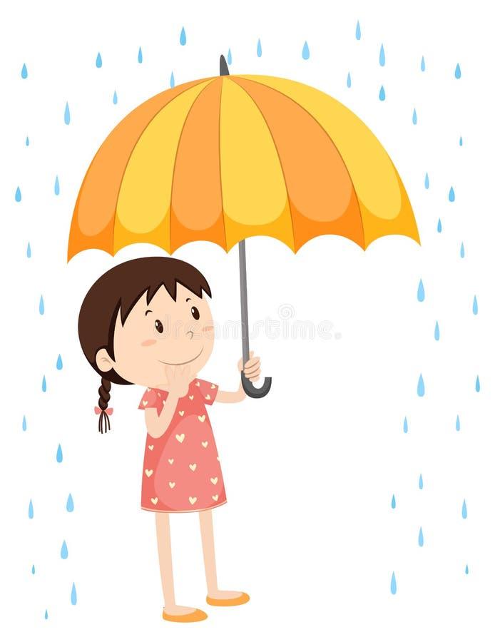 Girl with umbrella in the rain stock illustration
