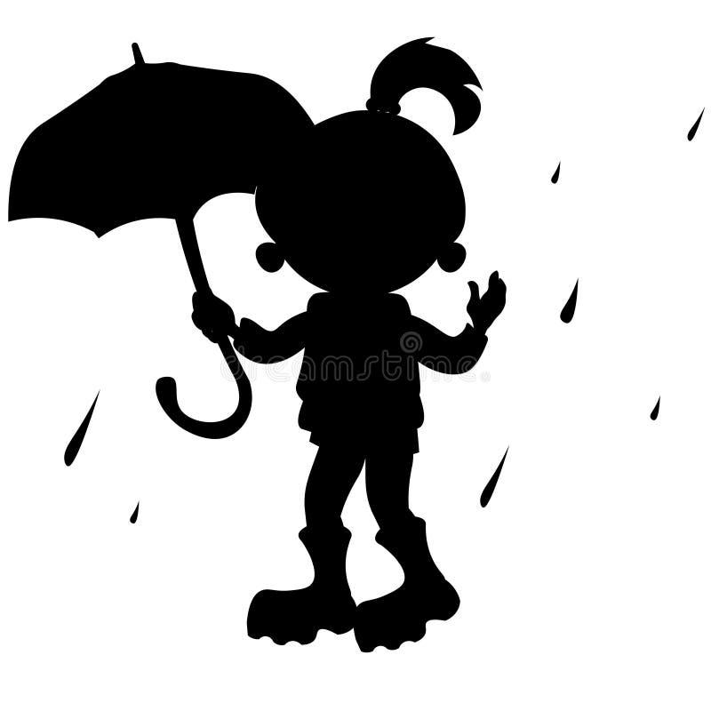 Girl with umbrella silhouette stock illustration