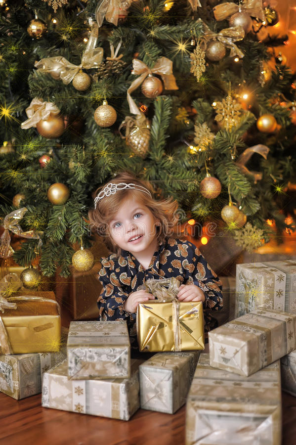 Girl under the Christmas tree. The girl with a gift under the Christmas tree royalty free stock images