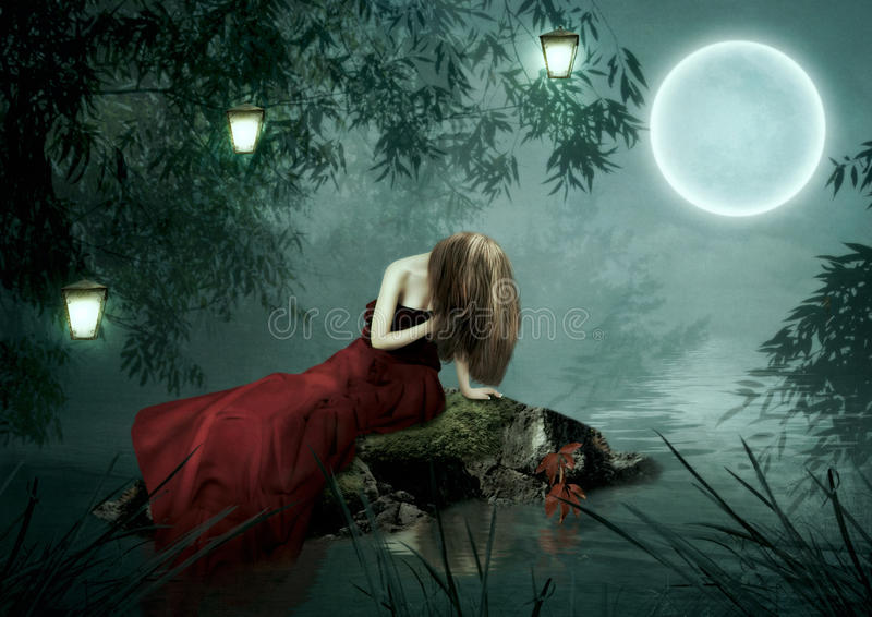 The girl under the moon stock image