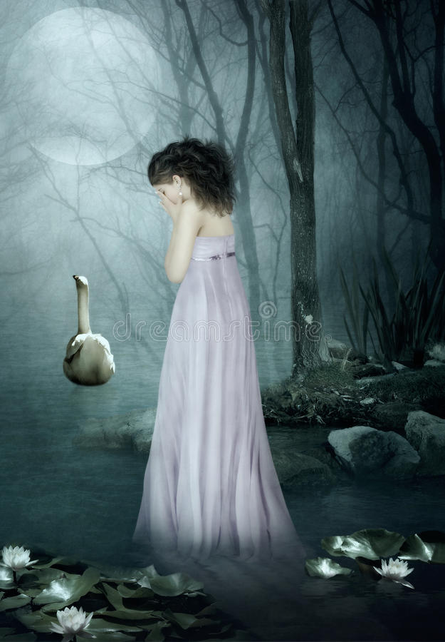 The girl under the moonlight stock images
