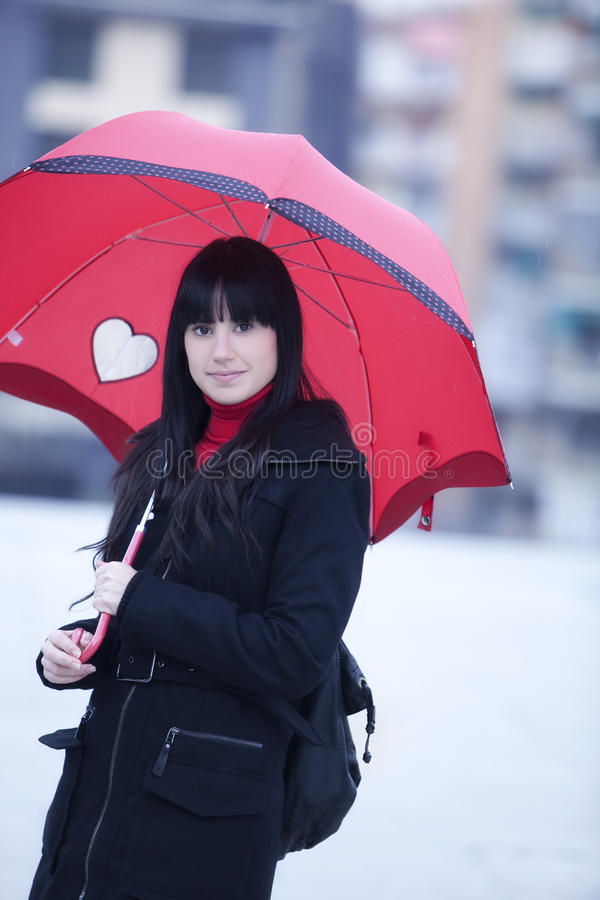 Download Girl under umbrella stock photo. Image of glamour, background - 12990800