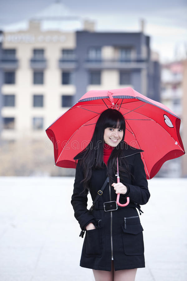 Download Girl under umbrella stock photo. Image of cheerful, portrait - 13295756