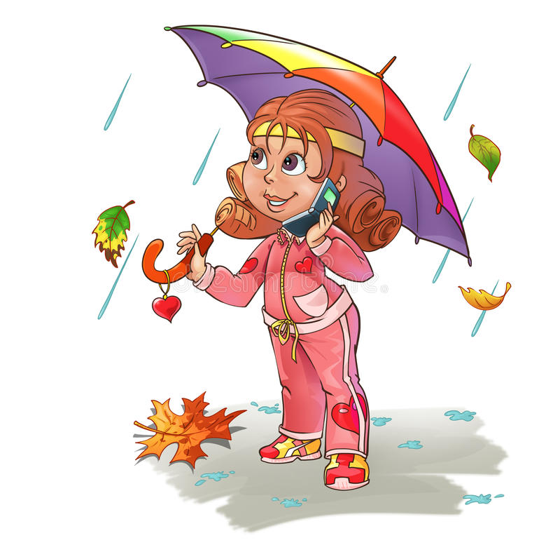 Girl under umbrella royalty free illustration