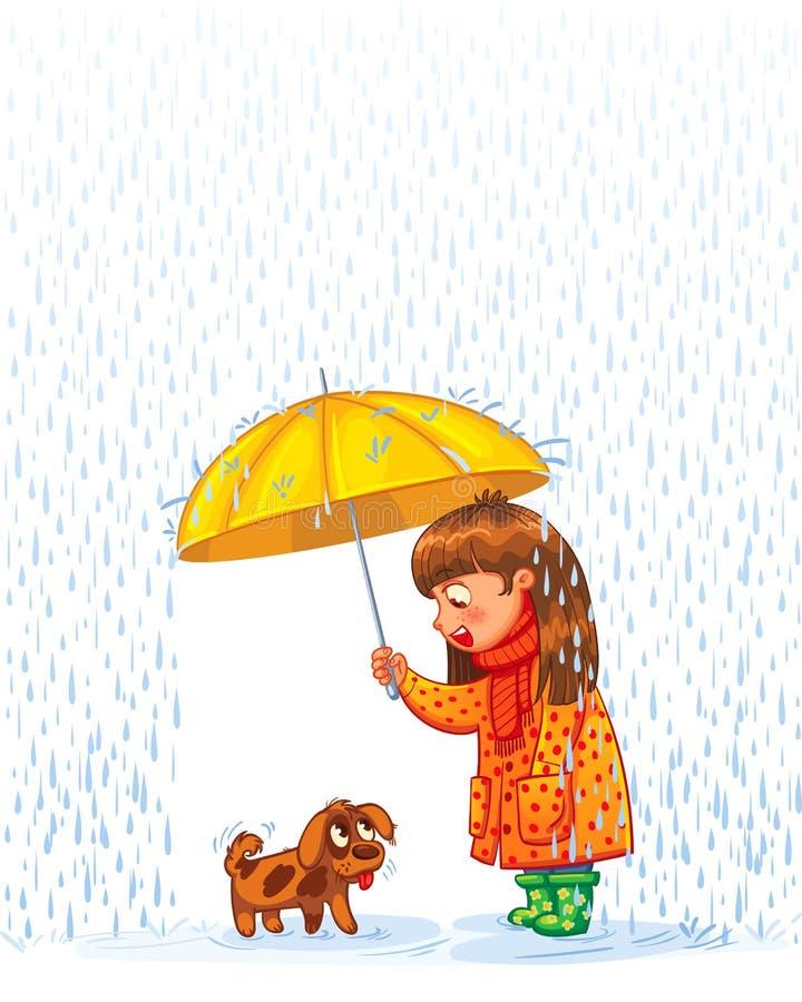 Girl under an umbrella vector illustration