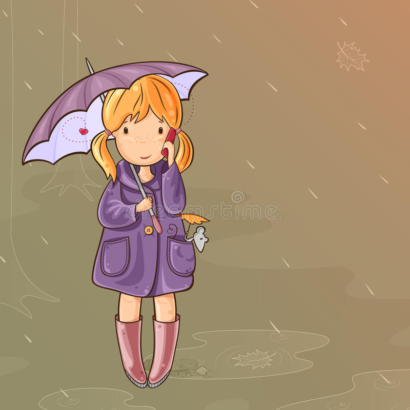 Download Girl Under An Umbrella Talking On Cell Phone Stock Vector - Illustration of puddle, dull: 26401514