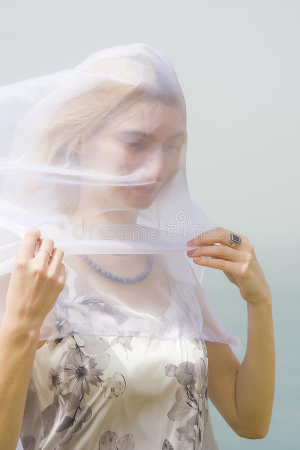 Girl Under A Veil Royalty Free Stock Image