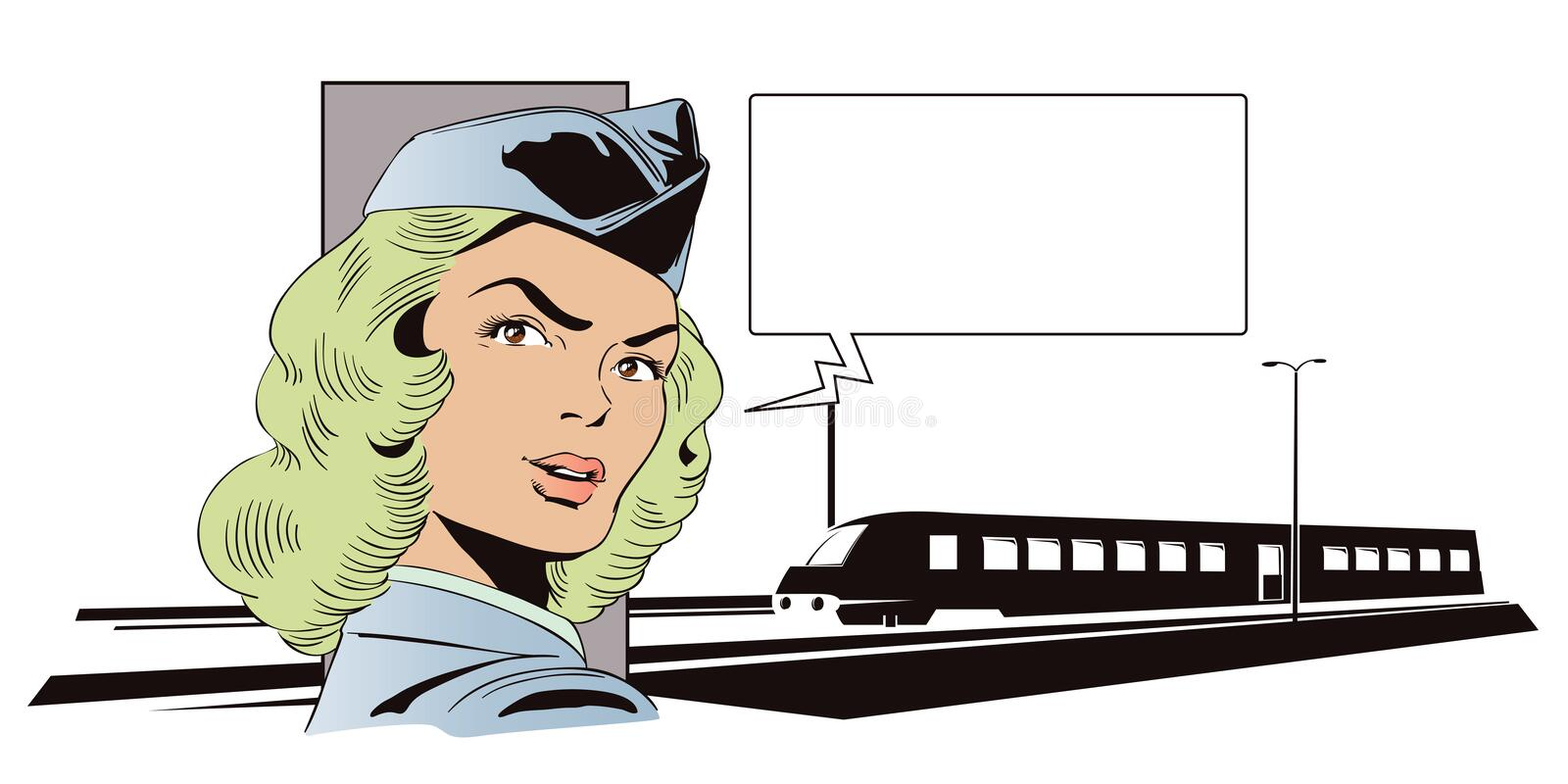 Girl in uniform of train conductor. People in retro style. royalty free illustration