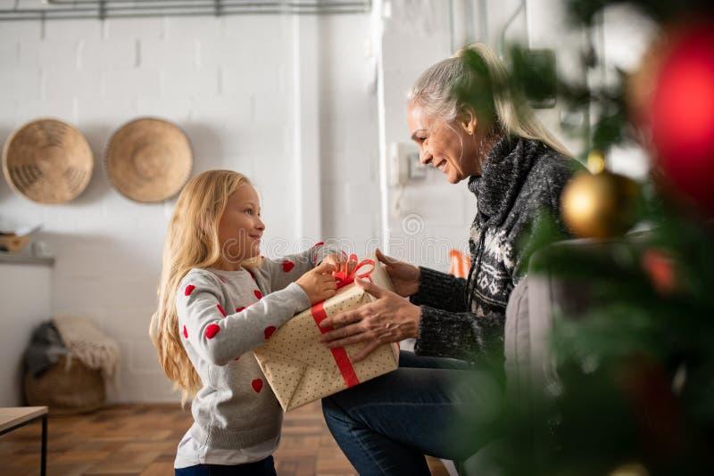 Girl unpacking christmas gift stock images