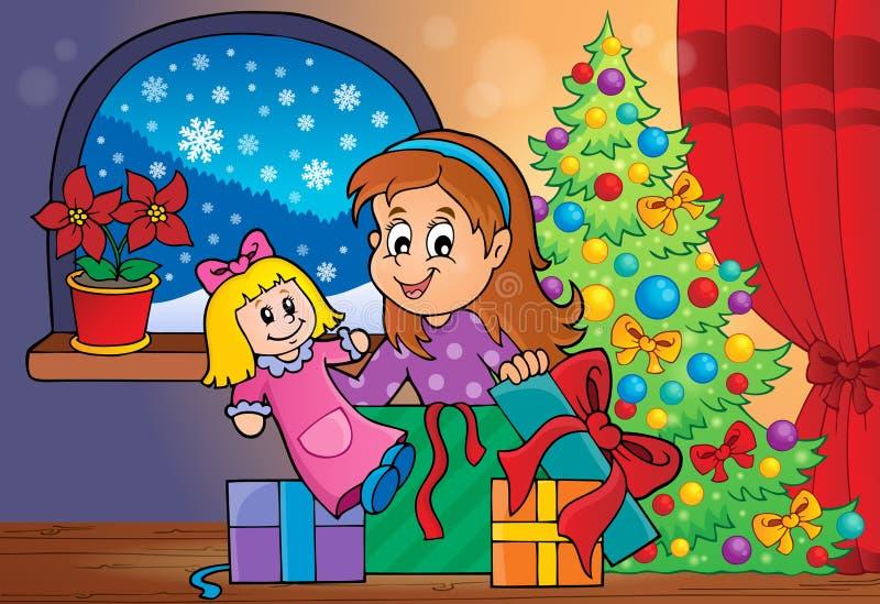 Girl unpacking Christmas gifts theme 2 stock illustration