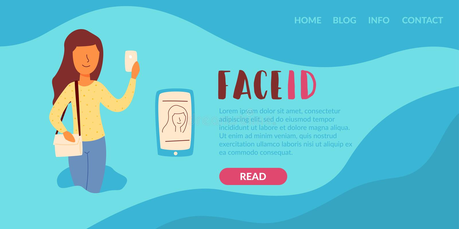 Girl uses the Face ID feature. From fraudsters criminals to unlock the rich phone screen. A woman is holding a phone and he recognizes the face of her new stock illustration