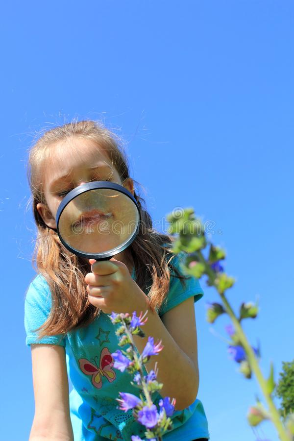 Download Girl Using Magnifying Glass On The Meadow Stock Image - Image: 25315759