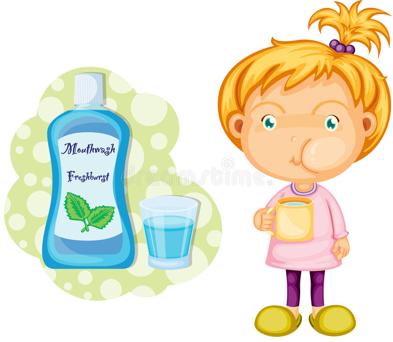 A Girl Using Mouth Wash stock vector. Illustration of ...