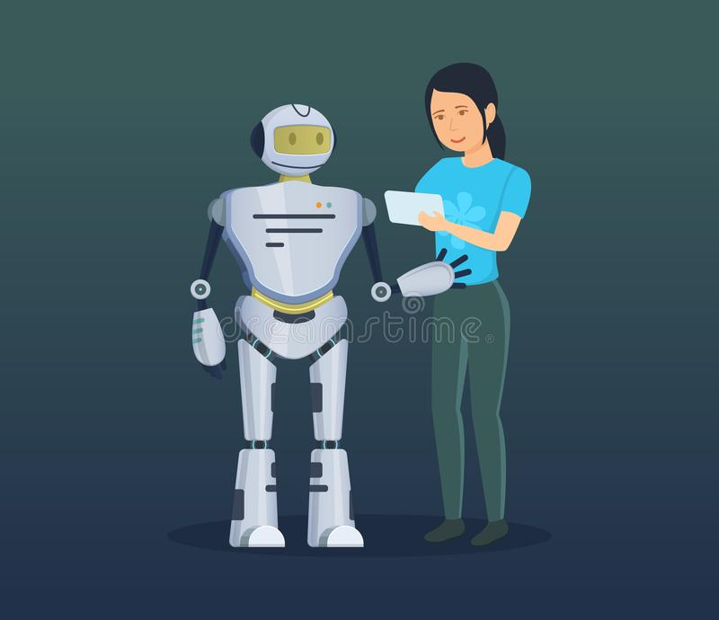Girl, using software commands on device, controls electronic mechanical robot. vector illustration
