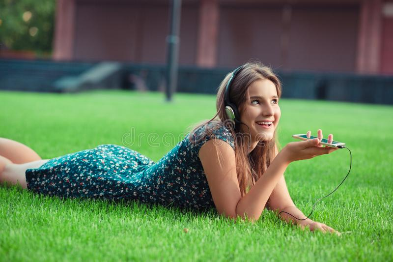 Girl using the voice recognition royalty free stock images