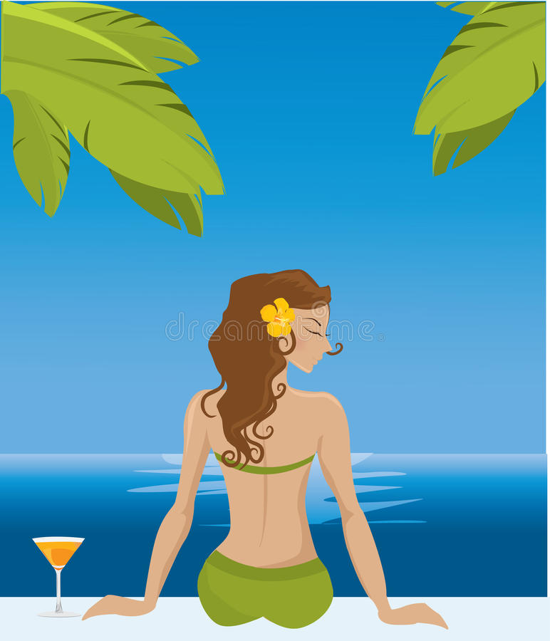 Download Girl on vacation stock vector. Illustration of drink - 20244232