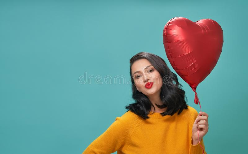 Girl on Valentine`s Day stock image
