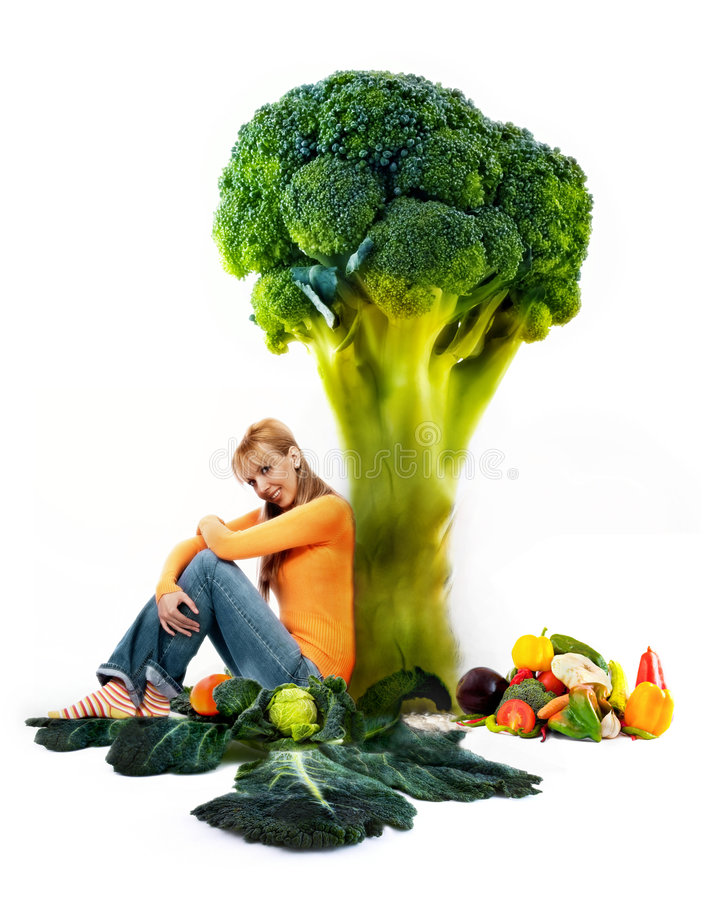Girl and vegetabes. Girl posing whit fresh delicious vegetables, isolated on white backbround royalty free stock images