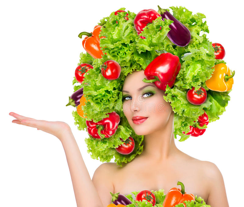 Girl with vegetables hairstyle stock photos