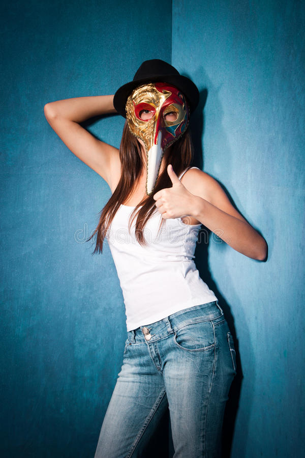 Download Girl with Venetian mask stock image. Image of scary, hand - 26462981