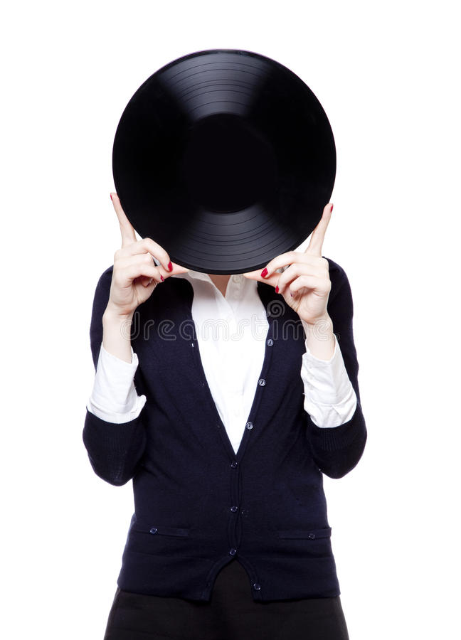 Girl with vinil disc on white background royalty free stock photography