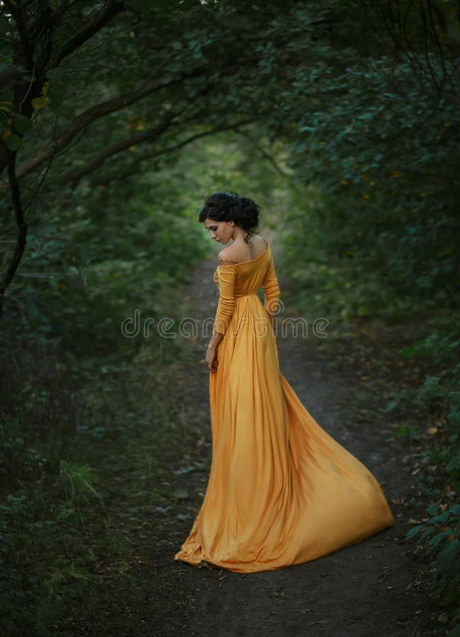 A girl in a vintage dress. A fragile, tender girl in a yellow vintage dress . Background of a mystical arch of green trees. Artistic Photography royalty free stock photography