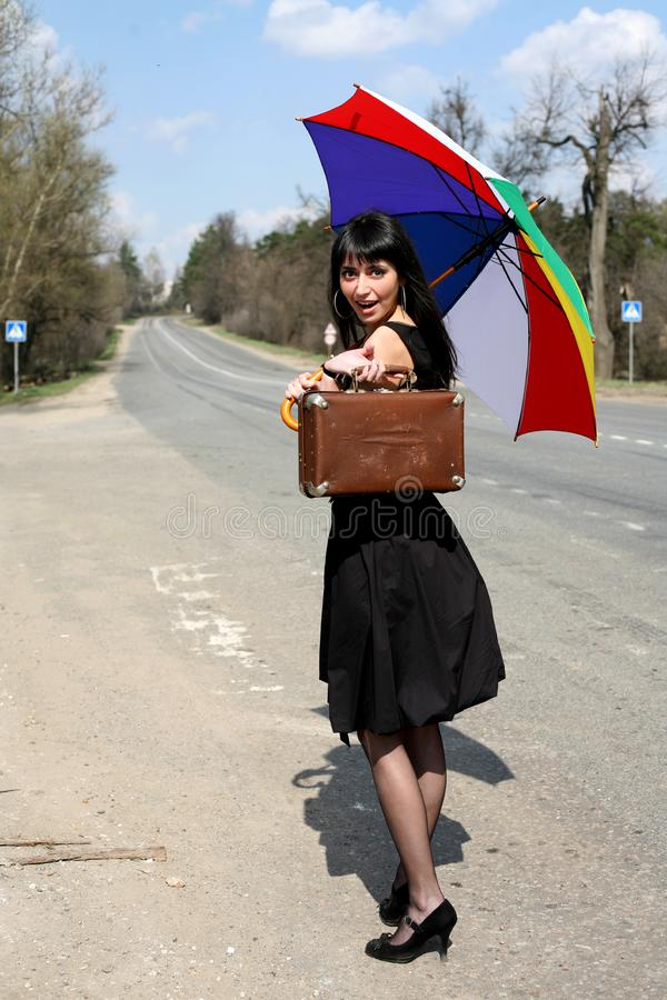 Download Girl with vintage suitcase stock photo. Image of person - 8299948