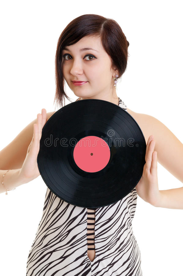 Girl with vinyl. Good girl with vinyl disc royalty free stock photo