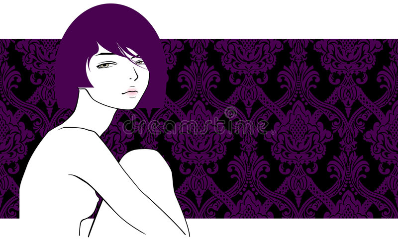 Girl with violet hair stock illustration