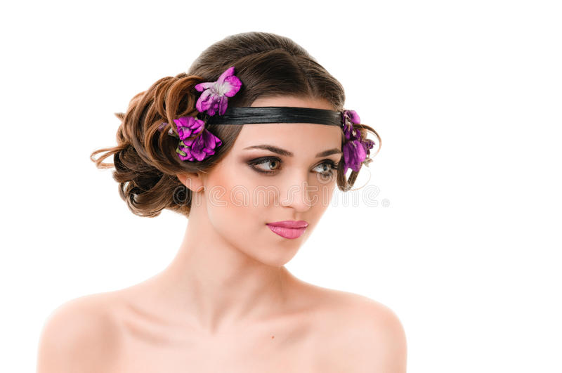 Girl With Violets Stock Image