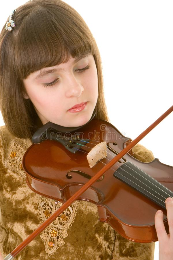 Girl with violin stock photos