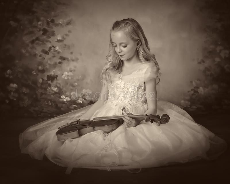 Girl violin royalty free stock photo