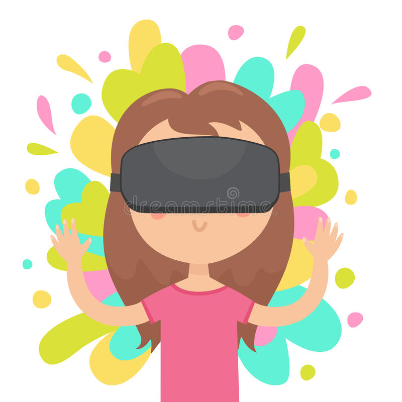 Girl in a virtual reality glasses. royalty free illustration