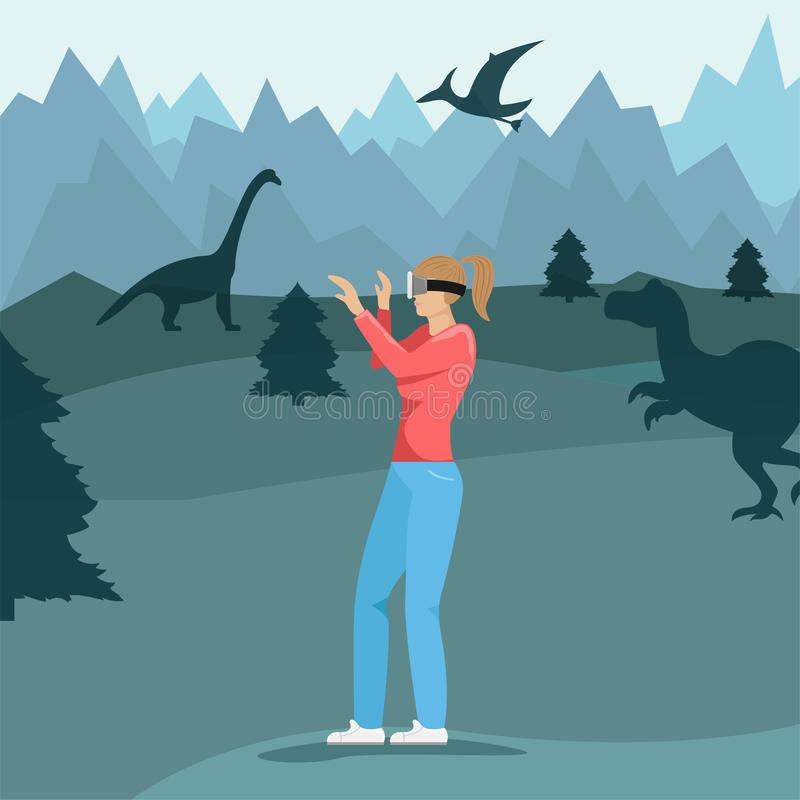 Girl with virtual reality glasses. Virtual world of dinosaurs. Modern technology. royalty free illustration