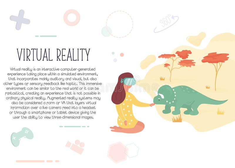Girl in virtual reality meeting dinosaur. royalty free illustration