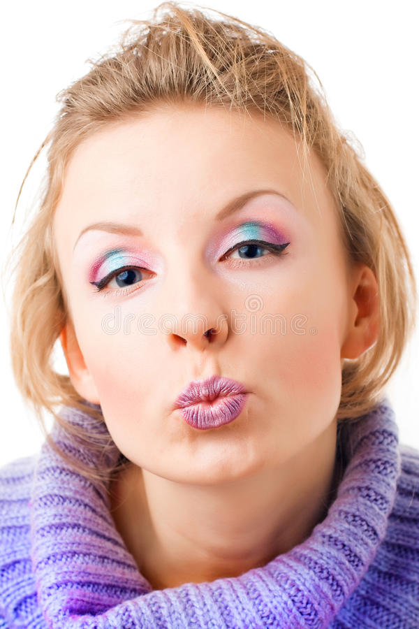 Download Girl with vivid makeup stock photo. Image of grimace - 12013312