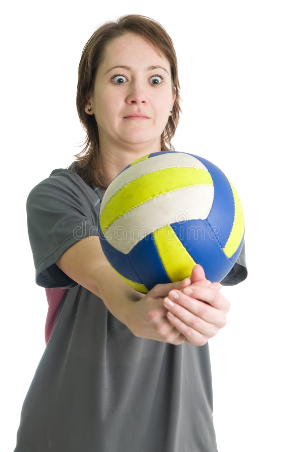 Girl with volleyball ball. Young girl with volleyball ball. Isolated over white stock photos