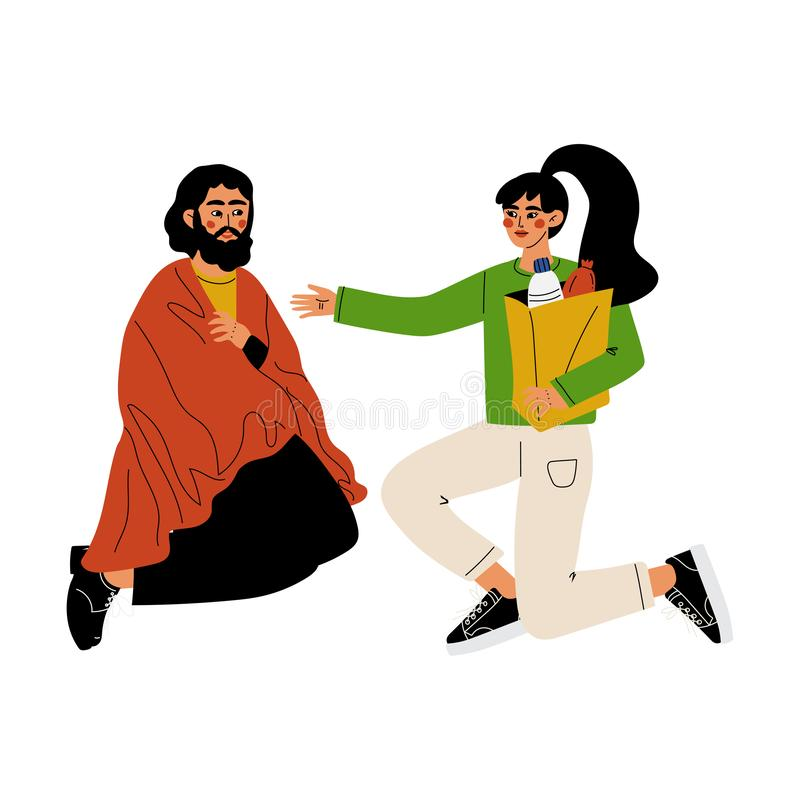Girl Volunteer Helping Homeless Man, Volunteering, Charity and Supporting People Vector Illustration royalty free illustration