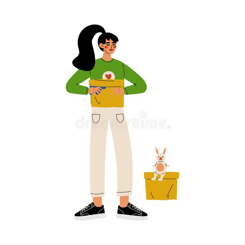 Girl Volunteer Holding Donation Box, Volunteering, Charity and Supporting Vector Illustration royalty free illustration